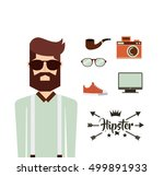 male avatar with hipster style... | Shutterstock .eps vector #499891933