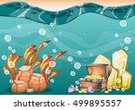 cartoon vector underwater...   Shutterstock .eps vector #499895557