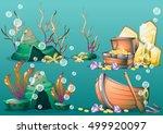 cartoon vector underwater... | Shutterstock .eps vector #499920097