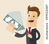 man in a suit with cash money... | Shutterstock .eps vector #499923487