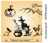 halloween vector collection... | Shutterstock .eps vector #499963663