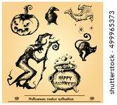 halloween vector collection... | Shutterstock .eps vector #499965373