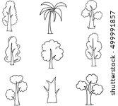 doodle of various tree set