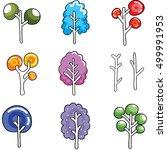 unique tree set on doodles... | Shutterstock .eps vector #499991953