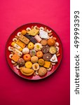 indian sweet food in red... | Shutterstock . vector #499993393
