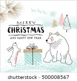 hand drawn christmas card with... | Shutterstock .eps vector #500008567