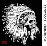 Apache Head Skull On Black...