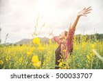 young beautiful woman standing... | Shutterstock . vector #500033707