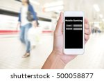 hand holding mobile phone with... | Shutterstock . vector #500058877