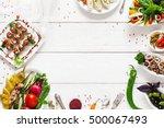 appetizing vegetarian snacks ...   Shutterstock . vector #500067493