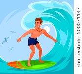 vector illustration of a surfer | Shutterstock .eps vector #500071147