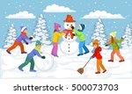 winter scene with children... | Shutterstock .eps vector #500073703