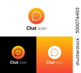 chat icon  logo with orange...