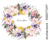 beautiful watercolor wreath... | Shutterstock . vector #500077297