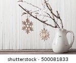 white christmas decoration on... | Shutterstock . vector #500081833