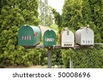 View Of Four Rural Mailboxes...