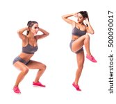 high knee squat exercise. young ... | Shutterstock . vector #500090017