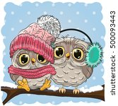 Two Cute Drawn Owls  Sits On A...