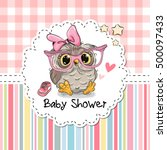 baby shower greeting card with... | Shutterstock .eps vector #500097433