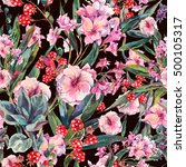 exotic vintage floral seamless... | Shutterstock . vector #500105317