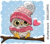 owl in a knitted cap sits on a... | Shutterstock .eps vector #500110993