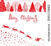 christmas card with silhouettes ... | Shutterstock .eps vector #500115883