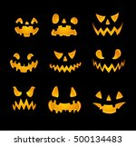 set of jack o lanterns  faces... | Shutterstock .eps vector #500134483