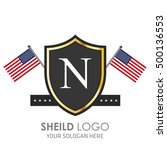 usa flag made sheild logo.... | Shutterstock .eps vector #500136553