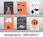 halloween posters set. vector... | Shutterstock .eps vector #500144017