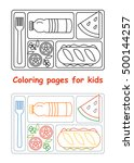 coloring pages for kids. lunch... | Shutterstock .eps vector #500144257