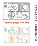 coloring pages for kids. lunch... | Shutterstock .eps vector #500144293