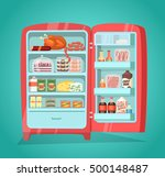 retro refrigerator full of food.... | Shutterstock .eps vector #500148487