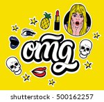 vector trendy sticker set.... | Shutterstock .eps vector #500162257