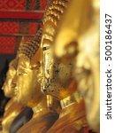 buddha gold statue face. wat...   Shutterstock . vector #500186437