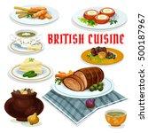 british cuisine cartoon icon... | Shutterstock .eps vector #500187967
