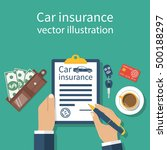 car insurance form. man signs a ... | Shutterstock .eps vector #500188297