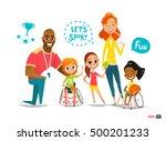 sports family. handicapped kids ... | Shutterstock .eps vector #500201233