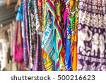 colorful patterned shawls and... | Shutterstock . vector #500216623