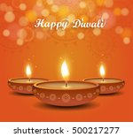 diwali poster on orange... | Shutterstock .eps vector #500217277