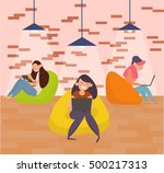 coworking center. team work on... | Shutterstock .eps vector #500217313