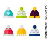 winter hat isolated icons on... | Shutterstock .eps vector #500225197