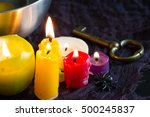 divination and pouring wax... | Shutterstock . vector #500245837