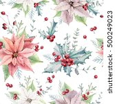 watercolor christmas seamless... | Shutterstock . vector #500249023