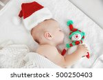 Little Baby In Christmas Hat O...