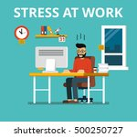 stress at work concept. tired... | Shutterstock .eps vector #500250727