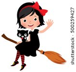 witch in black dress flying on... | Shutterstock . vector #500259427