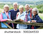 group of senior friends hiking... | Shutterstock . vector #500264533