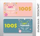 universal gift voucher template.... | Shutterstock .eps vector #500267647