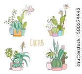 set of cactus in pots isolated... | Shutterstock .eps vector #500274943