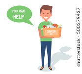 man volunteers with donation... | Shutterstock .eps vector #500279437